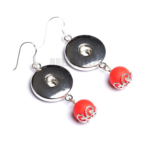 Boucles d'oreilles boutons-pression perles rouge 18mm