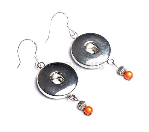 Boucles d'oreilles boutons-pression perles orange 18mm