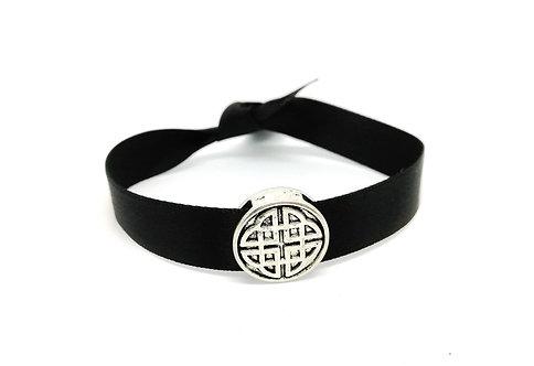 Bracelet ruban noir noeud celte