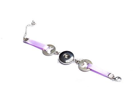 Bracelet bouton-pression ruban Papillon
