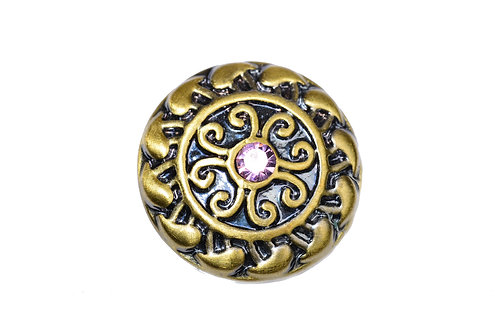 Bouton-pression bronze strass rose clair 18mm
