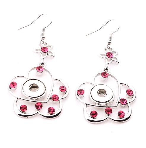 Boucles d'oreilles fleur à strass rose 12mm