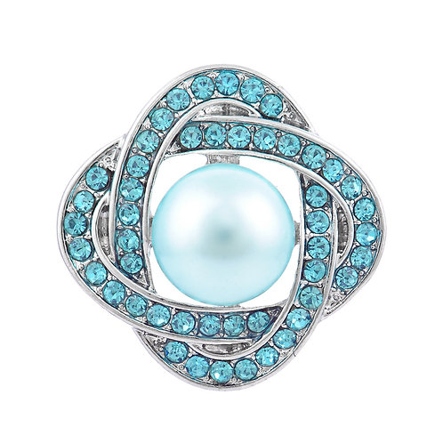 Bouton-pression perle et strass Vn-898 18mm