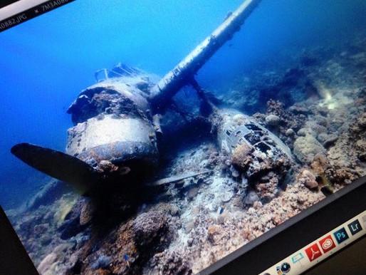 パラオにて沈船の調査を開始。写真は『アイチ製E13A零式水上偵察機』