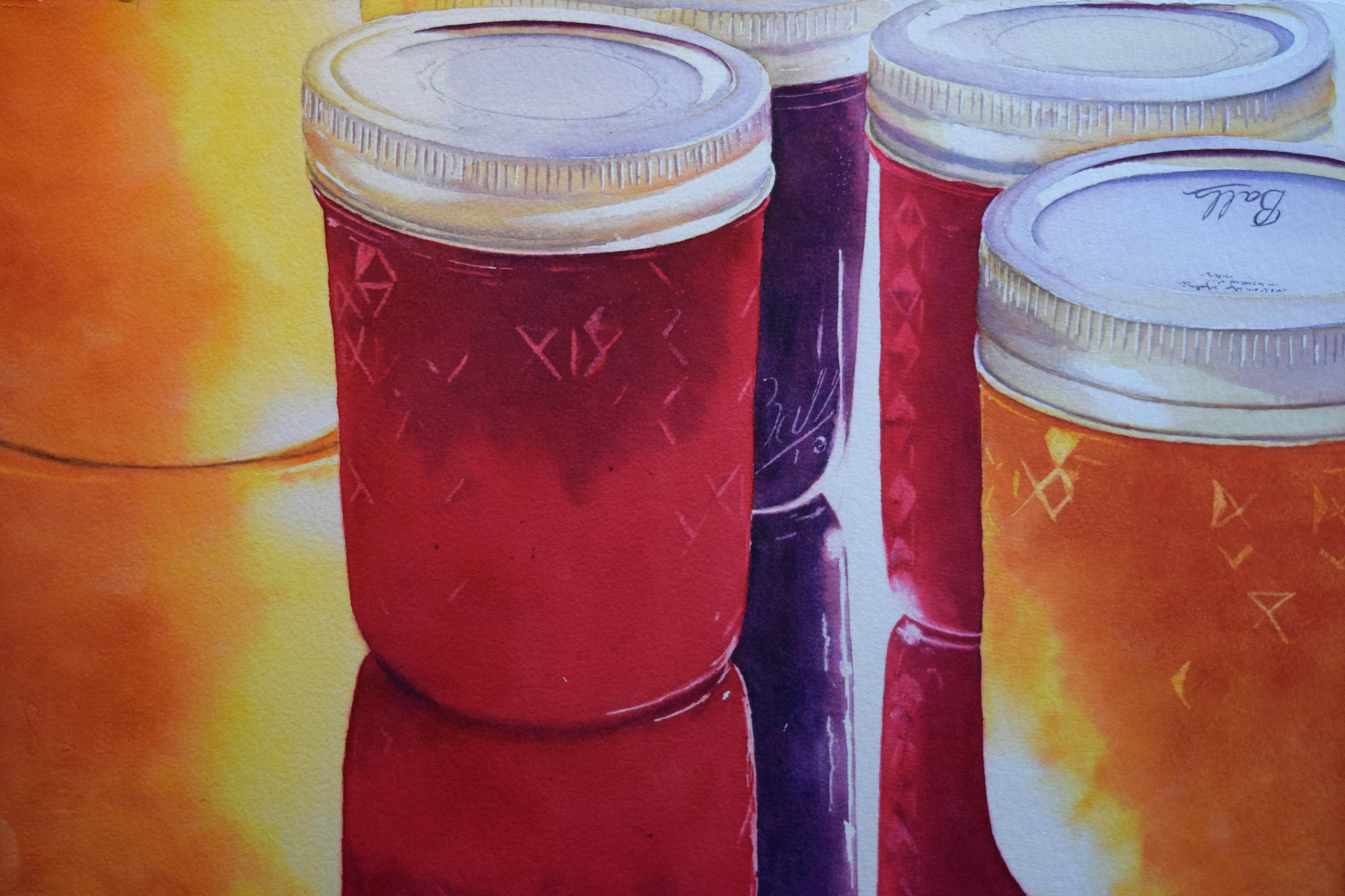Three Jams and a Jelly- watercolor