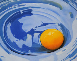 Yellow on Blue - oil