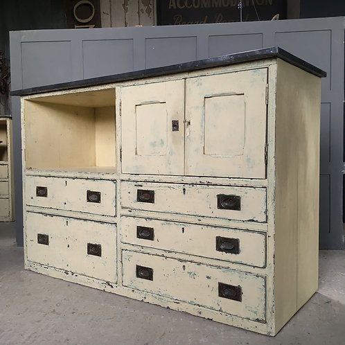 NOW SOLD - Painted pine cupboard and drawers unit