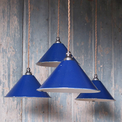 NOW SOLD - Blue enamel pendant lights