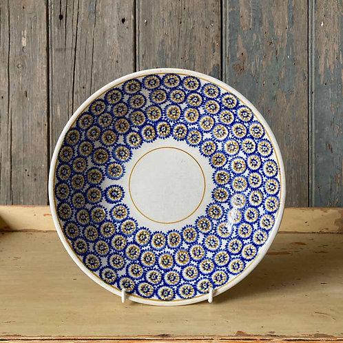 SOLD - Antique spongeware pottery dish - blue daisies