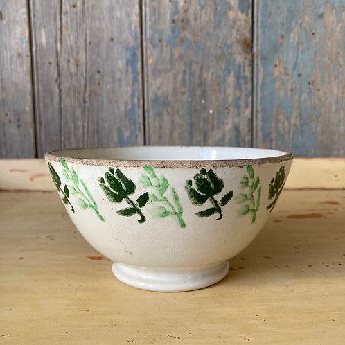SOLD - Antique spongeware bowl - 'Green tulips'