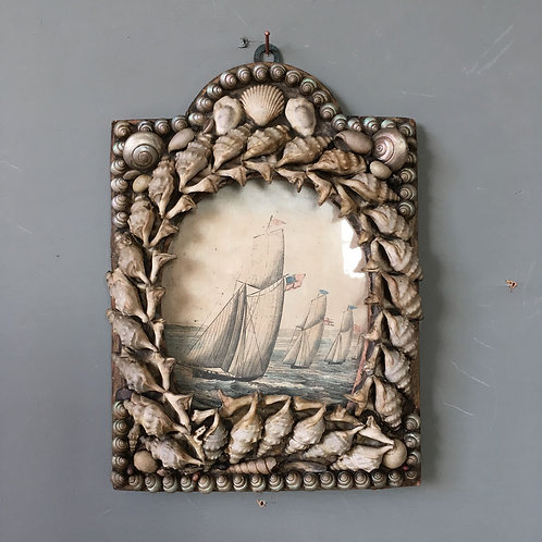 NOW SOLD - Victorian sailor's shell valentine - 'Yacht race'