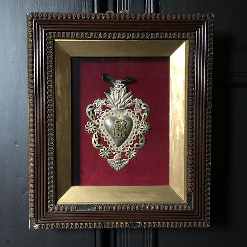 NOW SOLD - Antique metal heart-shaped memento mori