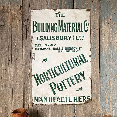 NOW SOLD -Vintage enamel sign - Horticultural Pottery'