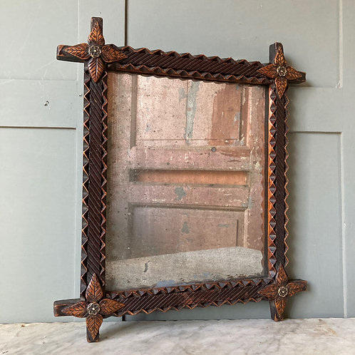 NOW SOLD - Carved tramp art framed mirror