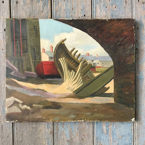 NOW SOLD - Boat yard oil painting by Leslie Davie