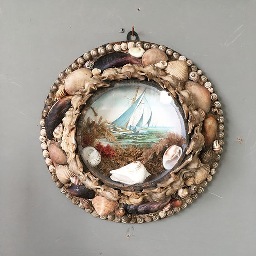 NOW SOLD - Victorian sailor's shell valentine - 'Yacht'