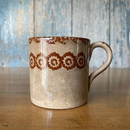 NOW SOLD - Antique spongeware child's mug - brown