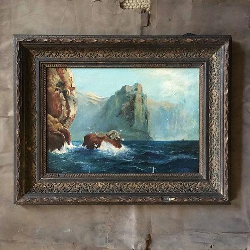 SOLD - Antique oil painting - coastal scene