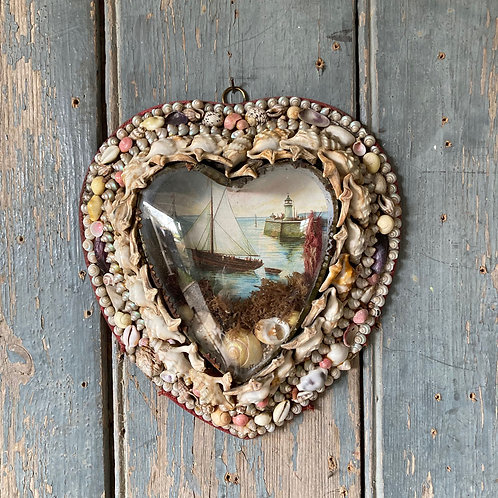 SOLD - Victorian sailor's shellwork valentine - 'Heart shape'