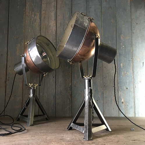 NOW SOLD - Vintage copper theatre lights
