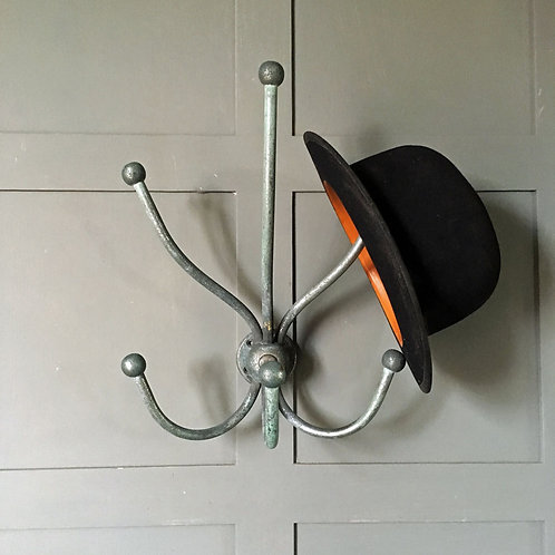 NOW SOLD - Vintage verdigris wall-mounted coat rack
