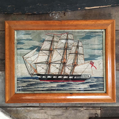 NOW SOLD - 19th century sailor's woolwork - warship