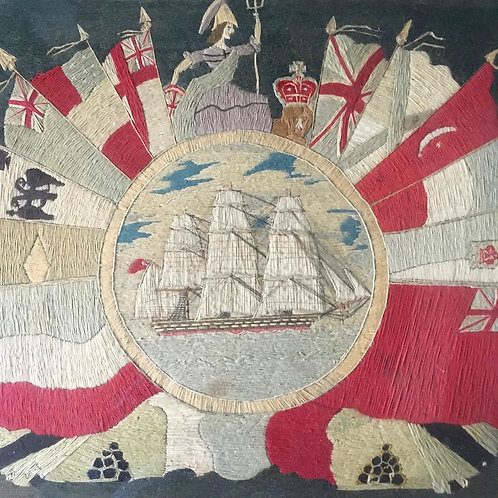 NOW SOLD - 19th C Sailor's woolwork ship & Britannia