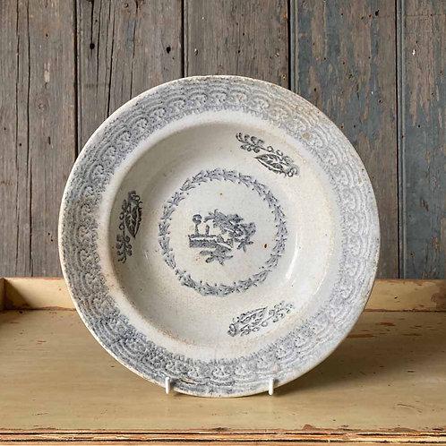 Antique spongeware bowl - grey