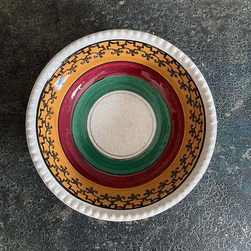 Antique spongeware shallow bowl - '#2'