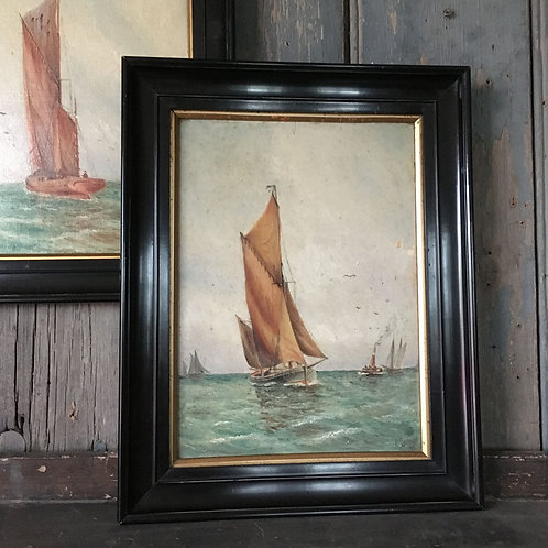 NOW SOLD - Pair of nautical oil paintings, 1925