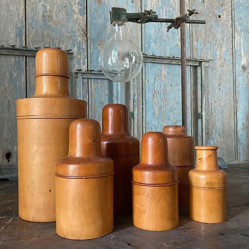 NOW SOLD - Six treen apothecary bottle boxes