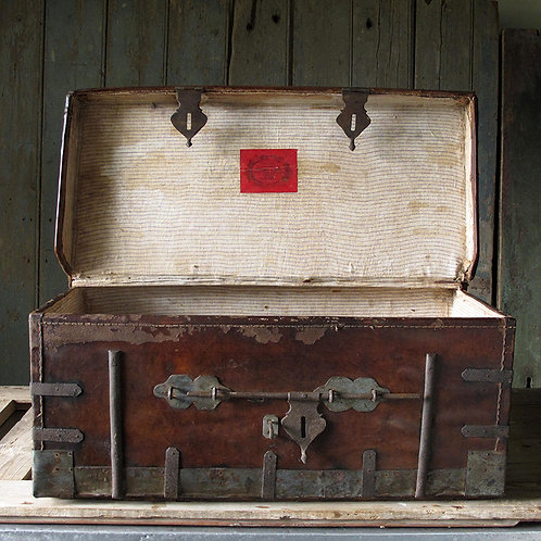 NOW SOLD - A Victorian Leather Carriage Trunk