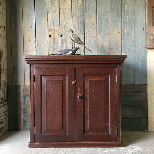 NOW SOLD - Antique painted pine school cupboard