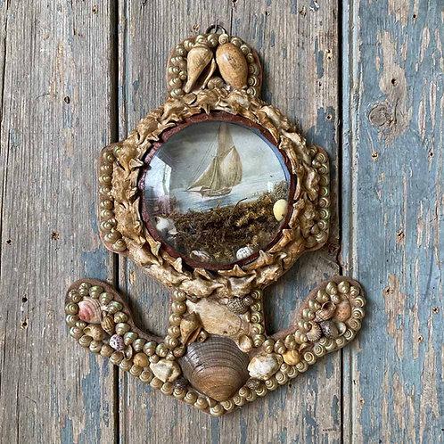 Victorian sailor's shellwork valentine - Anchor #2