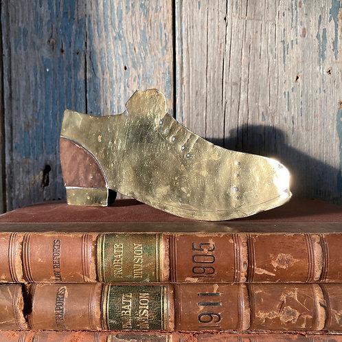 NOW SOLD - Folk art brass shoe