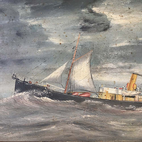 NOW SOLD - Antique cable ship - oil painting