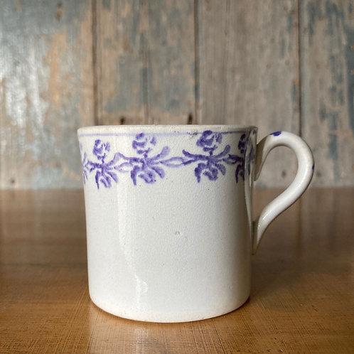 NOW SOLD - Antique spongeware child's mug - lilac