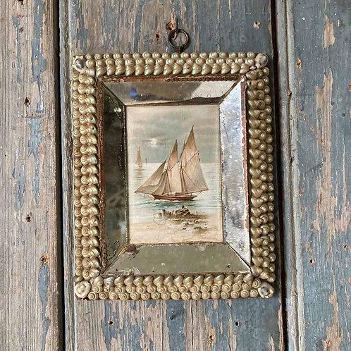SOLD - Victorian sailor's shellwork valentine - 'mirrored'