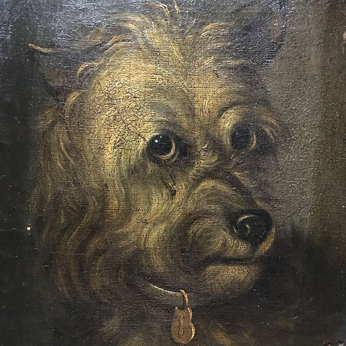 NOW SOLD - Scottish Terrier Dog oil painting - 19th century