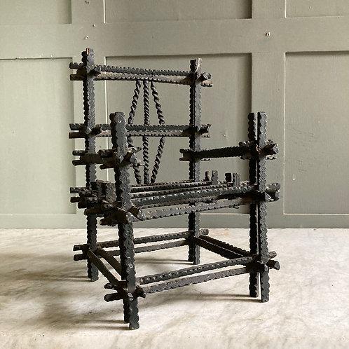 Antique 'tramp art' toy chair