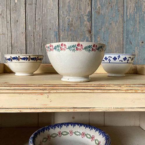 SOLD - Three antique spongeware bowls