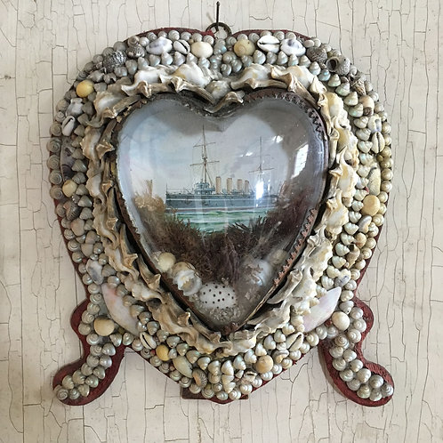 NOW SOLD - Victorian sailor's shell valentine - Steamship