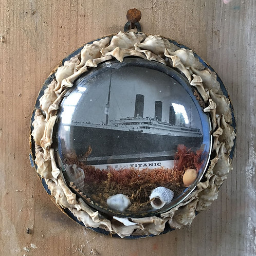 NOW SOLD - Edwardian sailor's shell valentine - Titanic