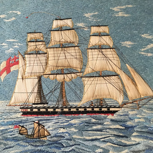 NOW SOLD - 19th century sailor's woolwork - Frigate and lighthouse