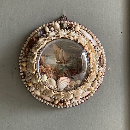 NOW SOLD - Victorian sailor's shell valentine - 'Fishing Boat'