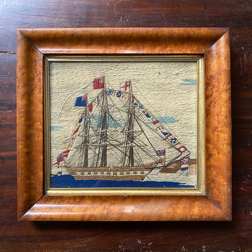 NOW SOLD - Antique sailor's woolwork - 'warship'