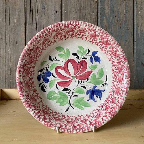 SOLD - Antique spongeware pottery bowl - red border