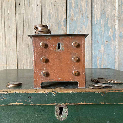 Victorian tinplate moneybox - chest of drawers