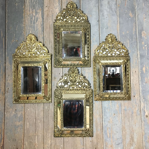 NOW SOLD - Four 19th century brass cushion mirrors