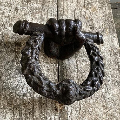 NOW SOLD - Georgian cast iron door knocker- 'Hand & Wreath'